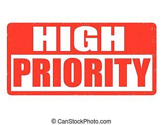 alto, prioridad, estampilla, o, señal