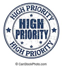 alto, prioridad, estampilla