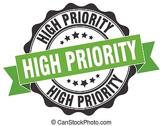 alto, priorità, segno., stamp., sigillo