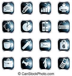 alto, quadrato, ufficio, lucentezza, bottoni, nero
