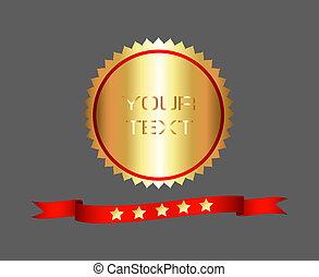 alto, qualidade, prêmio, ouro, etiqueta