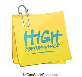 alto, rendimiento, memorándum, poste, ilustración