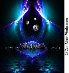 alto, res, reflejado, agua, diseño, plano de fondo, negro, ...