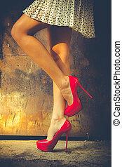 alto, rosso, tallone, scarpe
