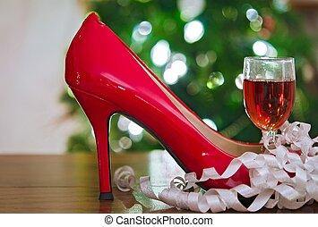 alto, rosso, tallone, vino