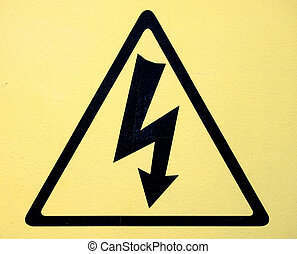 alto, símbolo, señal, voltaje, peligro