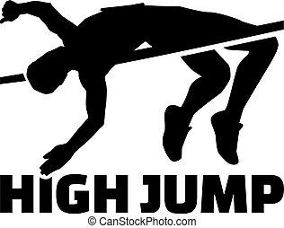 alto salto, silhouette, parola