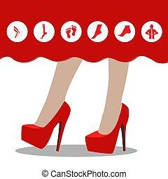 alto, sano, piedi, talloni, women:, infographics, non, icon.