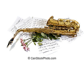 sax - alto sax against notes with roses