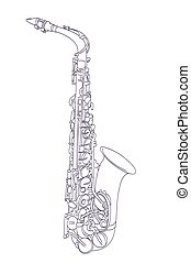 alto saxophone drawing on white. vector