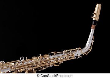 Alto Saxophone Isolated Against Black