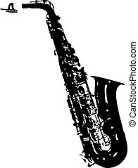 alto saxophone silhouette - isolated vector illustration