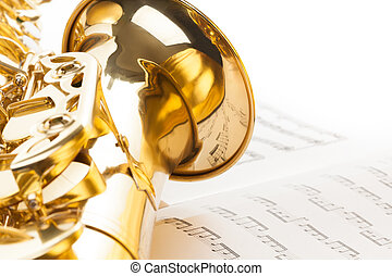 Alto saxophone with detailed view of bell