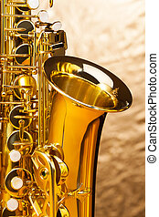 Alto saxophone with keys on silver background - Fragment of ...