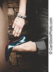 alto, scarpe, tallone