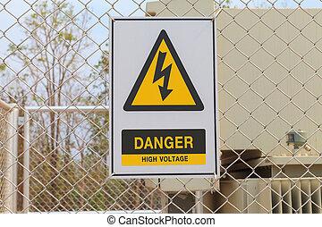 alto, segno, tensione, recinto, pericolo