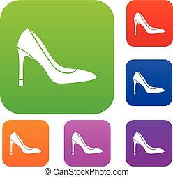 alto, set, scarpa, tallone, collezione
