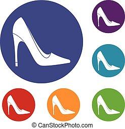 alto, set, scarpa, tallone, icone