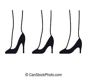 alto, set, scarpe, tallone