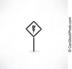 alto, sinal, símbolo, voltagem