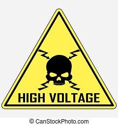 alto, sinal, vetorial, voltagem, perigo