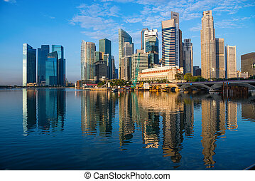 alto, skyline città, moderno, grattacieli