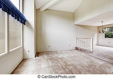 alto, soffitto, pavimento, casa, vaulted, interno, empy, moquette