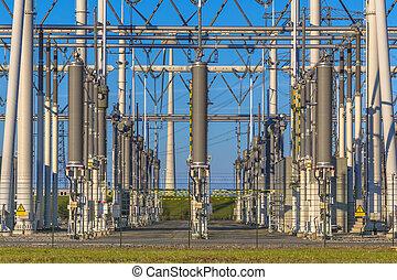 alto, substation, modernos, voltagem, poder