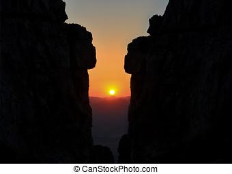 alto, sunrising, fascinante, rocas