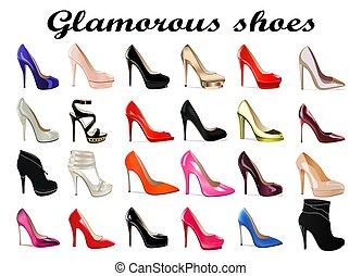 alto tallone, set, affascinante, femmina, scarpe, illustrazione