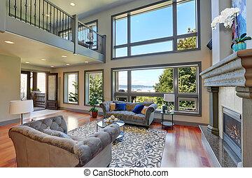 alto, techo, familia , room., gris, abovedado, interior