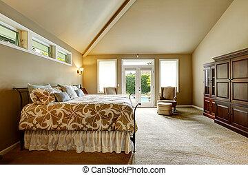alto, techo, wal, casa, dormitorio, abovedado, lujo, interior.
