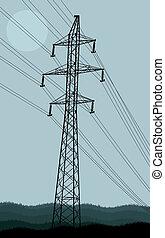 alto, torre, línea, voltaje, plano de fondo