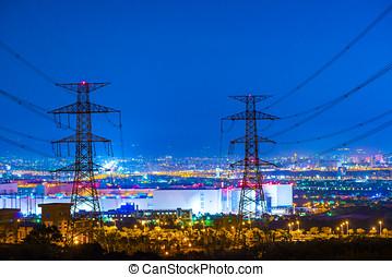 alto, torre, voltagem