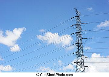 alto, torre, voltagem, elétrico