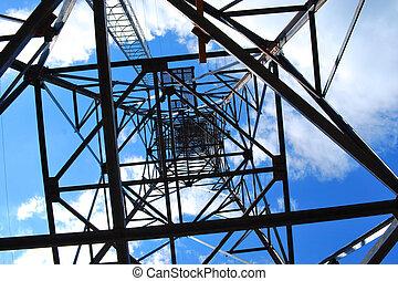 alto, torre, voltaje, debajo