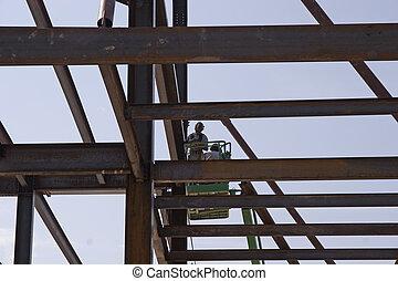 alto, trabalhadores aço