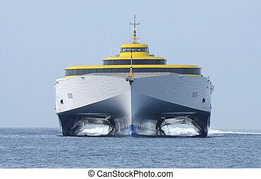 alto, transbordador, barco, moderno, velocidad