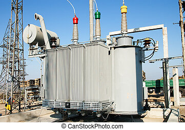 alto, transformador, voltagem, poder, station.