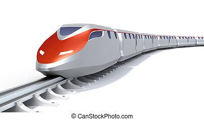 alto, trem, conceito, velocidade