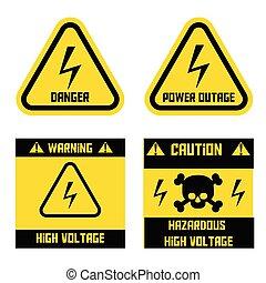 alto, vector, outage., voltaje, peligroso, voltage., peligro...