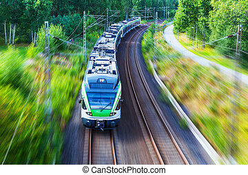alto, velocidad, tren, moderno