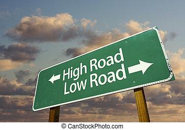 alto, verde, bajo, muestra del camino