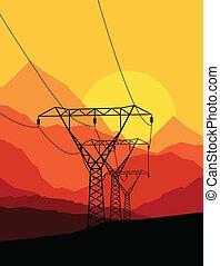 alto, vetorial, voltagem, fundo, torre, linha