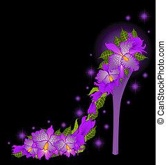 alto, vettore, tallone, orchids.