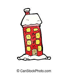 alto, viejo, casa, caricatura
