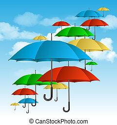 alto volo, colorito, ombrelli, vettore