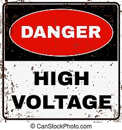 alto, voltage., segno., vettore, pericolo