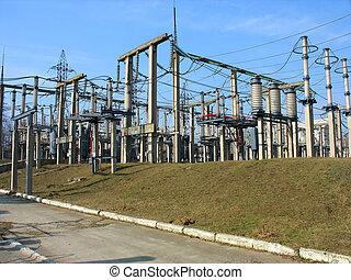 alto voltaje, convertidor, equipo, en, un, central eléctrica