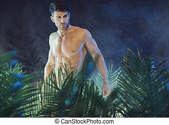 alto, y, muscular, hombre, en la lluvia, bosque
